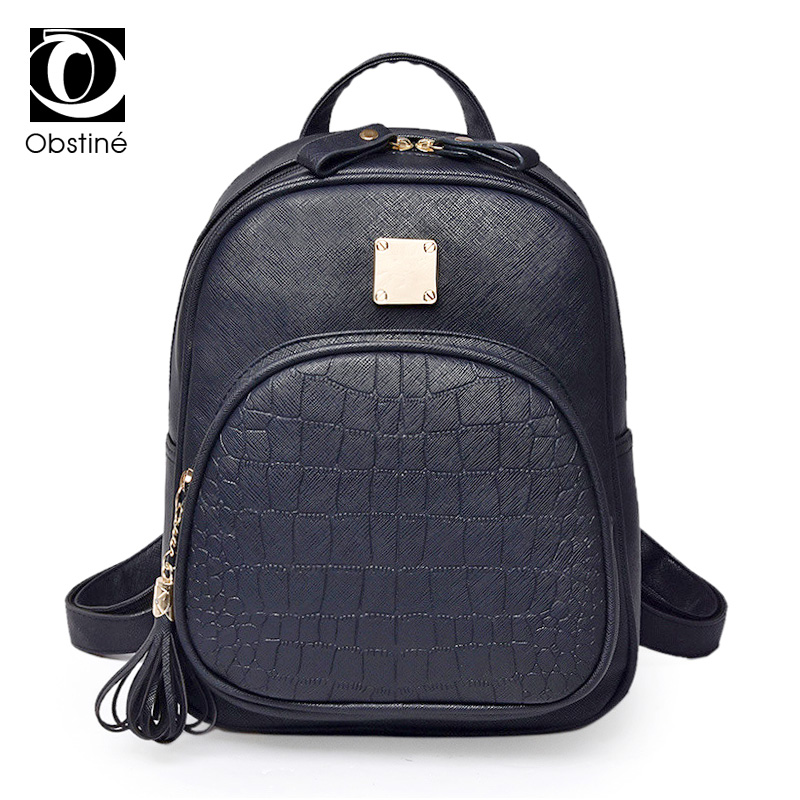 2017 New Womens Backpacks Fashion PU Leather Lady Shoulder Bag Crocodile Pattern Backpack Women Embossed School Bags for Girls