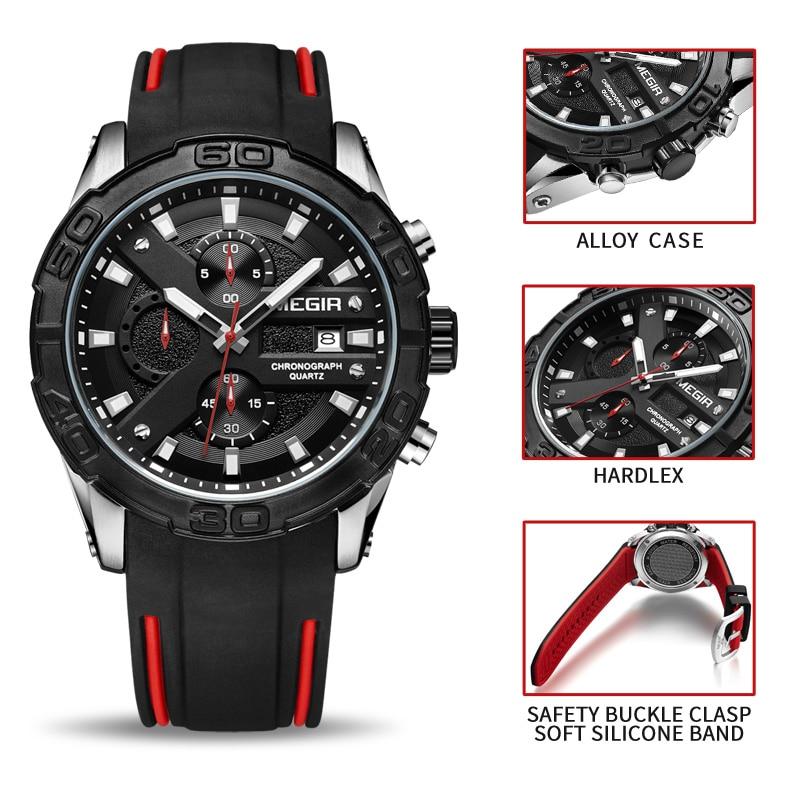 MEGIR Hombres Relojes Reloj de pulsera de Cuarzo Analógico - Relojes para hombres - foto 6