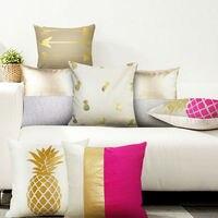 Mealivos 2 Cái Cushion Cover Vàng In Gối Che nhà Gối Trang Trí Trường Hợp Ghế Sofa Xe Gối trường hợp