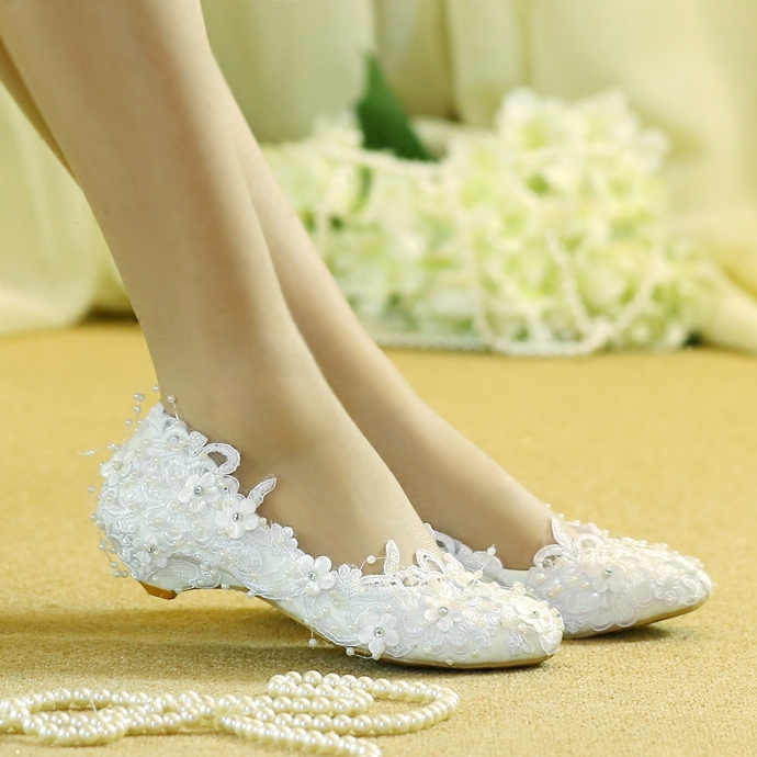 wedding shoes lower heel shoe princess lace white pregnant women bride wedding bridesmaid shoes women s