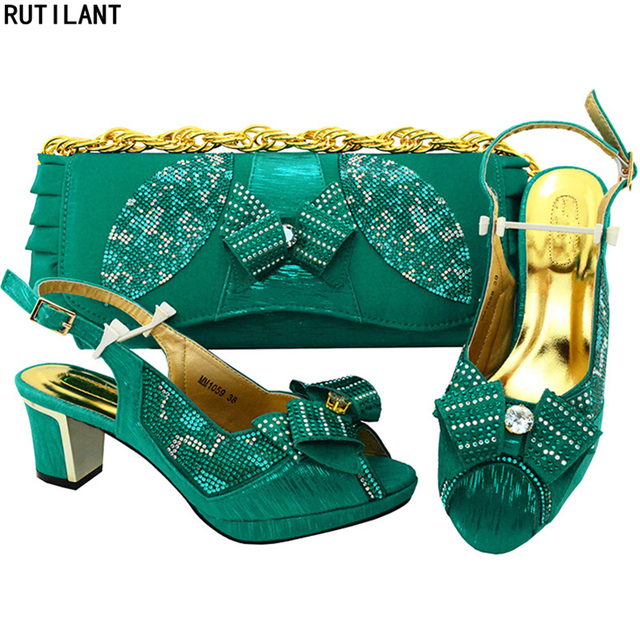 9030f2a6e79b Teal Color Italian Shoes with Matching Bags for Women African Shoe and Bag  Set Decorated with Rhinestone Party Shoe with Bag Set