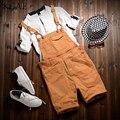 2017 macacão de moda de algodão dos homens para o verão estilo Coreano calça jeans Macacões Shorts para o homem bib 021510