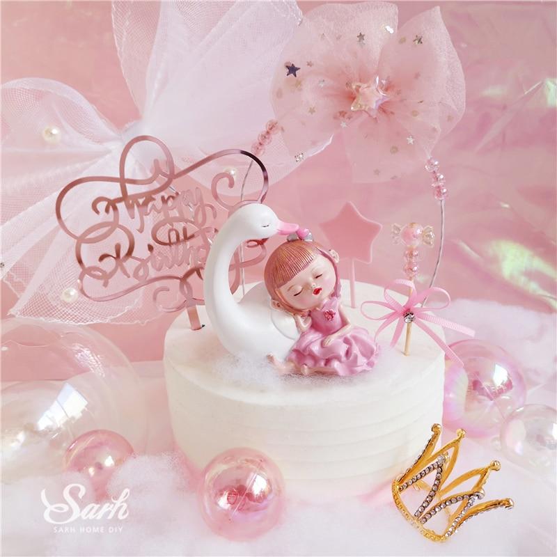Astounding Bling Sleeping Girl Decoration Pearl Star Mesh Bow Birthday Cake Birthday Cards Printable Inklcafe Filternl