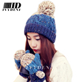 Bonnet Women Casual 2015 Winter Hats For Women Gorro Skullies Glove Bonnet Femme Tocas Pompom Female Beanies Knit Hat Gloves Set