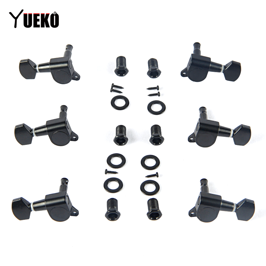 yueko black 6pcs set electric acoustic guitar tuning pegs tuner machine heads guitar accessories. Black Bedroom Furniture Sets. Home Design Ideas