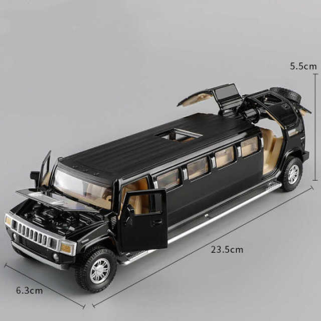 high simulation 1:32 alloy hummer limousine metal diecast car model pull back flashing musical kids toy vehicles