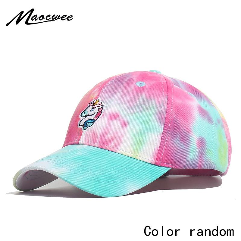 Embroidered Unicorn Baseball Cap Girls Tie-dye Unicorn Dad Trucker Snapback Hat