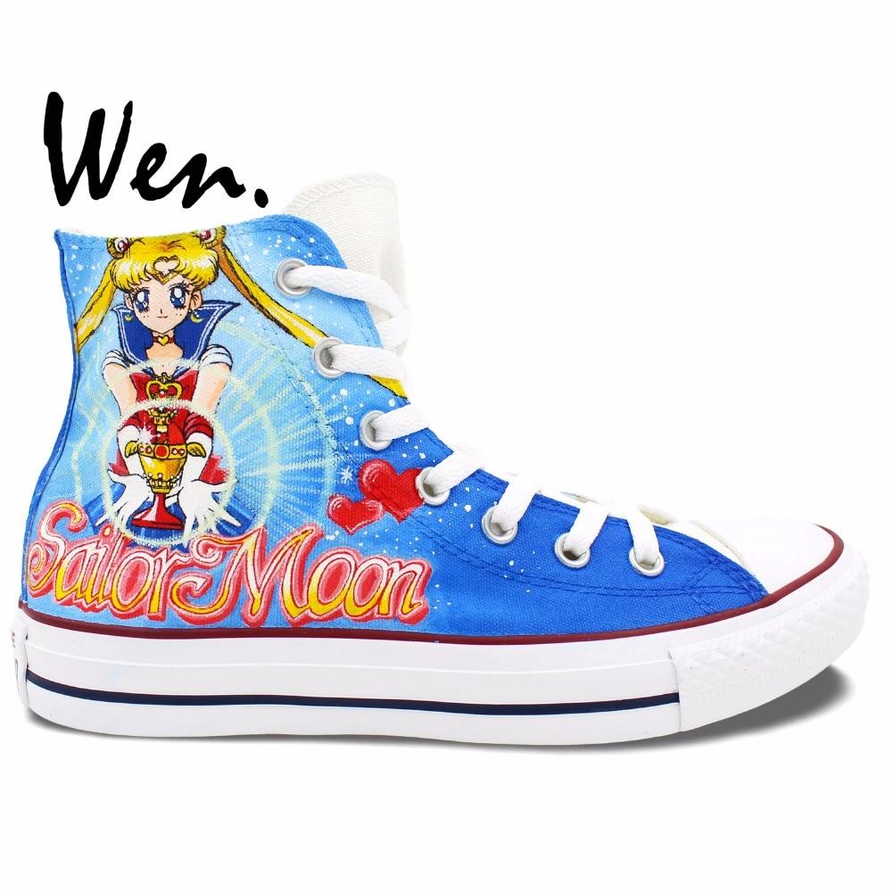 Prix pour Wen Bleu Anime Peint À La Main Chaussures de Sailor Moon Hommes Femmes Sneakers Conception Personnalisée High Top Toile Sneakers Pour Garçons filles