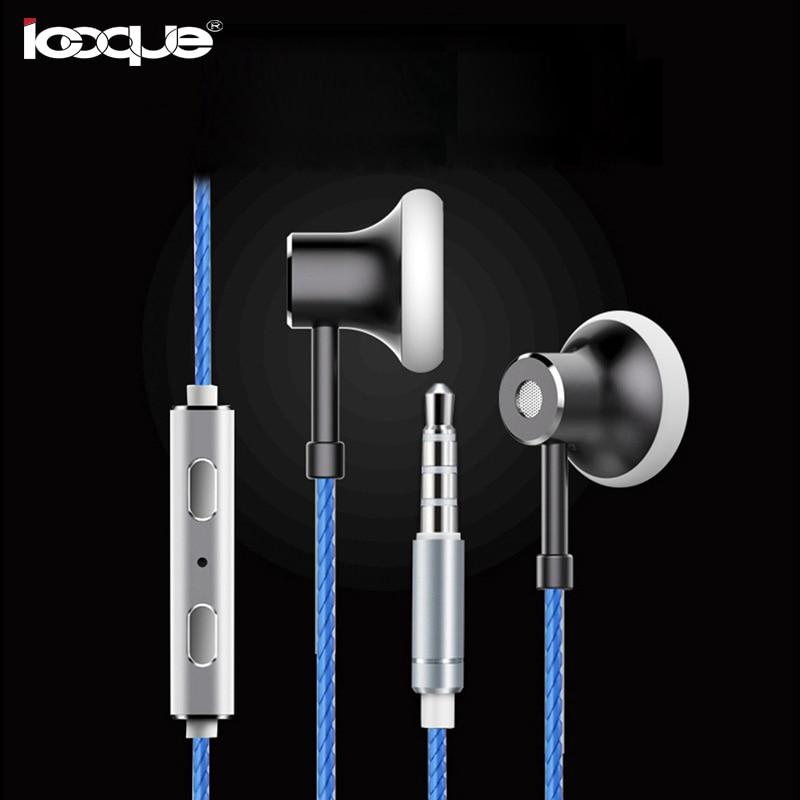 In Ear Earphone Flat Head Metal Headset With Microphone Stereo Earbuds Hifi Bass Headphone for Redmi Note 4X Huawei P10 Computer
