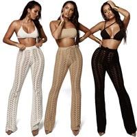 High Waist Night Club Hollow Out Knitted Crochet Long Women Trousers Black Beach Casual Women Sexy Pant Black White Khaki