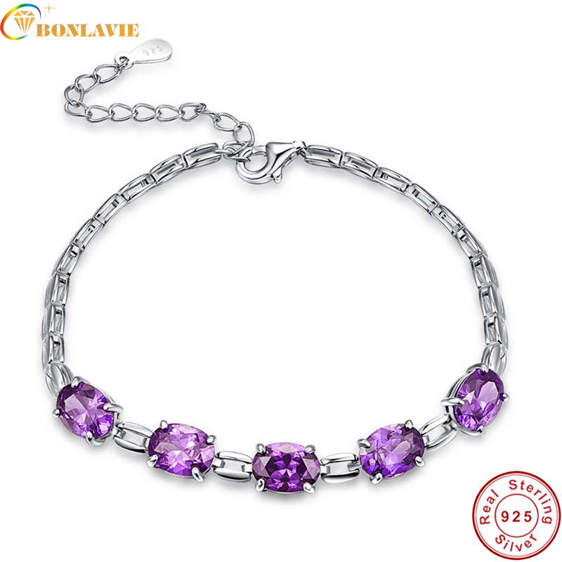 Real 925 Sterling Silver /& Round Genuine Amethyst 9.5 Inch Anklet Purple Lilac