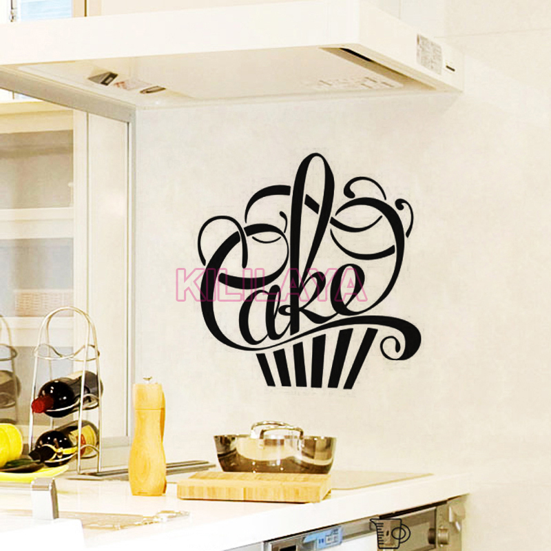 stickers cuisine cupcake vinyl wall decals wallpaper for kitchen fridge mural wall sticker art. Black Bedroom Furniture Sets. Home Design Ideas
