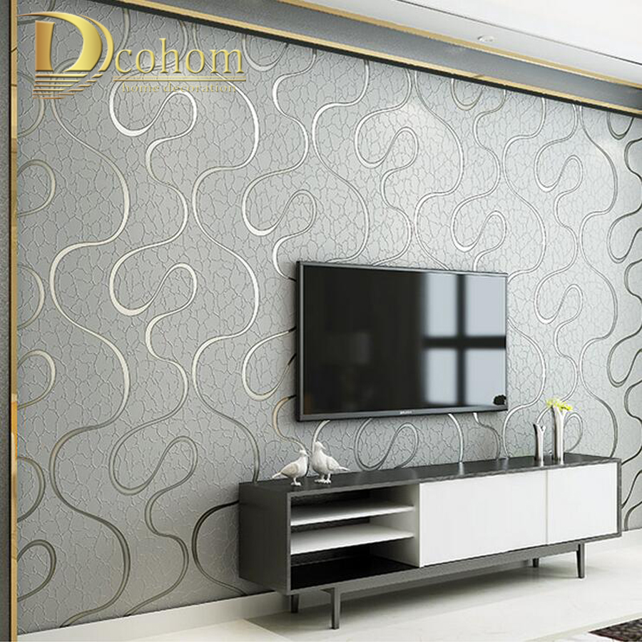 High quality thick flocked modern 3d striped wallpaper for for Living room paper