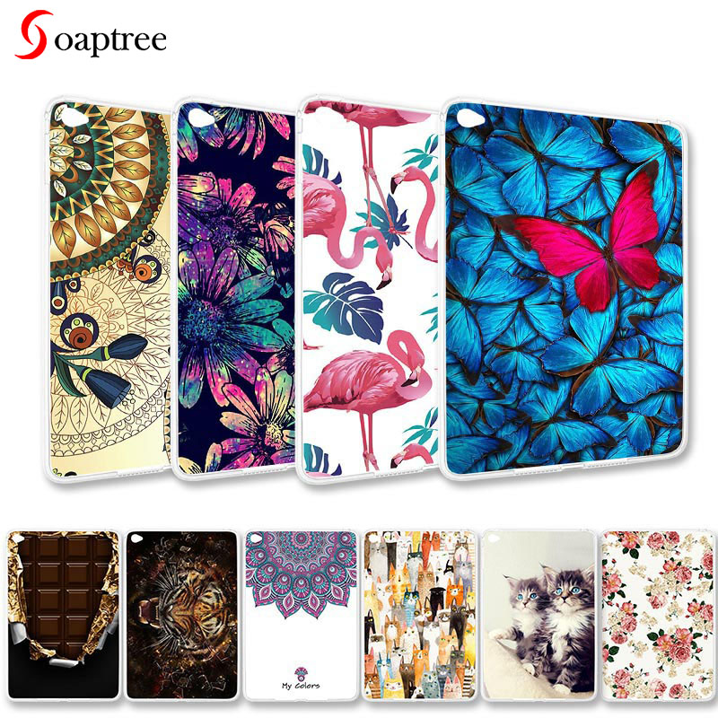 Fashion painted Cases For Apple iPad Mini 4 Mini4 Case Ultra-thin Soft TPU Silicone Cute Cartoon Animals Pattern Tablet Covers image