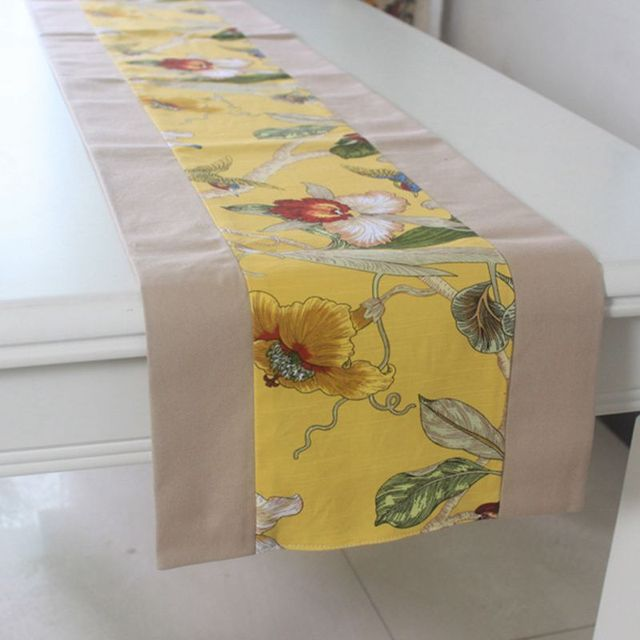 Linen Cotton Yellow Flower Printed Table Runner And Placemat Sets