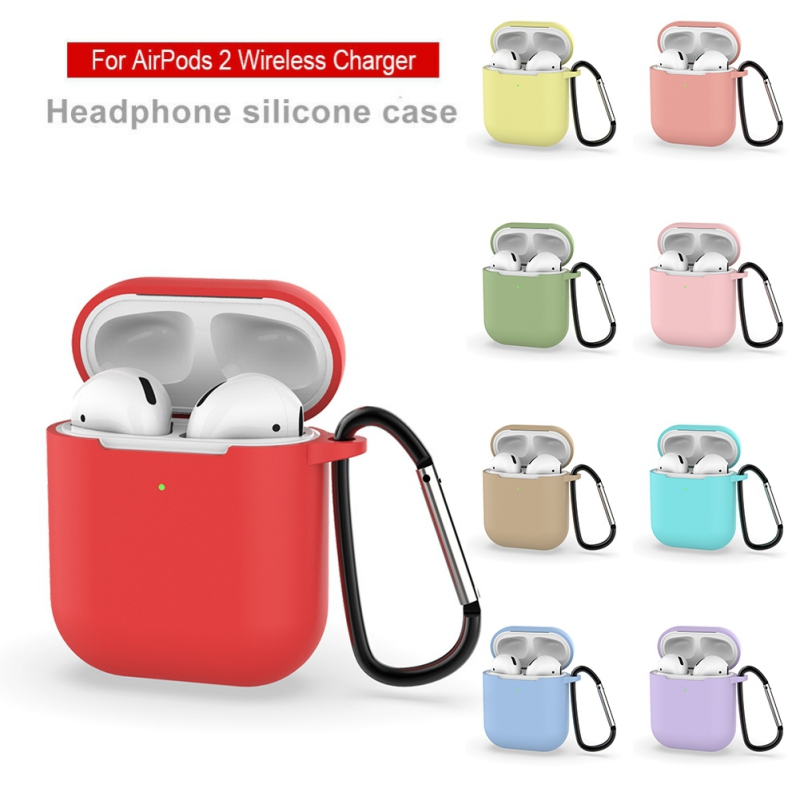 Protective Case For AirPods 2nd Generation Portable Silicone Cover Headphone Protector With Carabiner