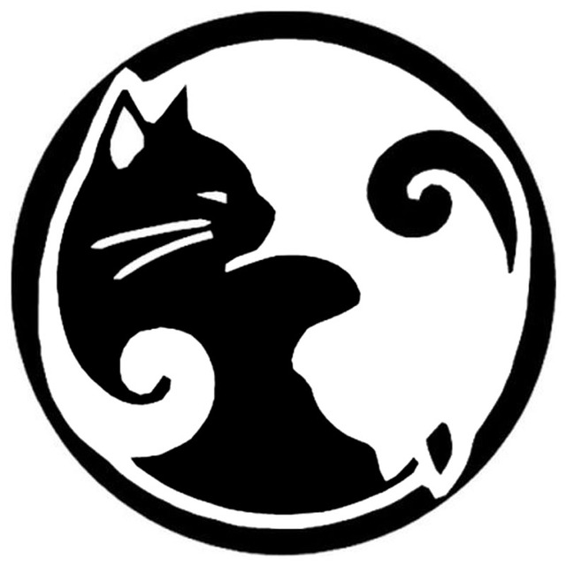 12 12cm yin and yang cat car stickers decals cartoon animal decorative motorcycle car. Black Bedroom Furniture Sets. Home Design Ideas