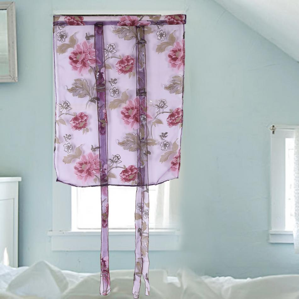 Cafe Curtain Rod Liftable Window Roman Curtain Floral