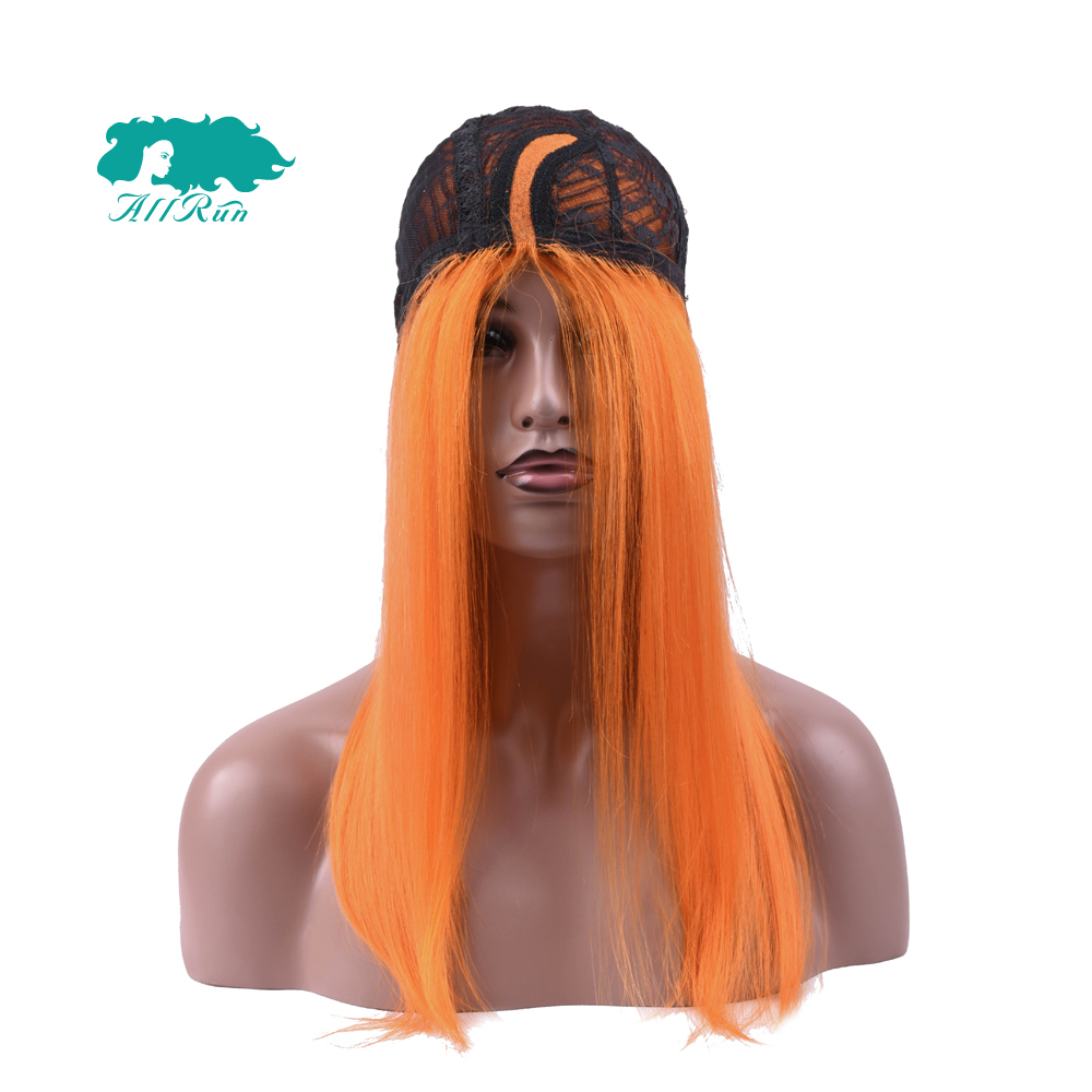 Allrun Malaysia 10-22 Pre-Colored Lace Front Wig Straight Human Hair Wigs Pure Orange Non Remy 130% Hair Extension