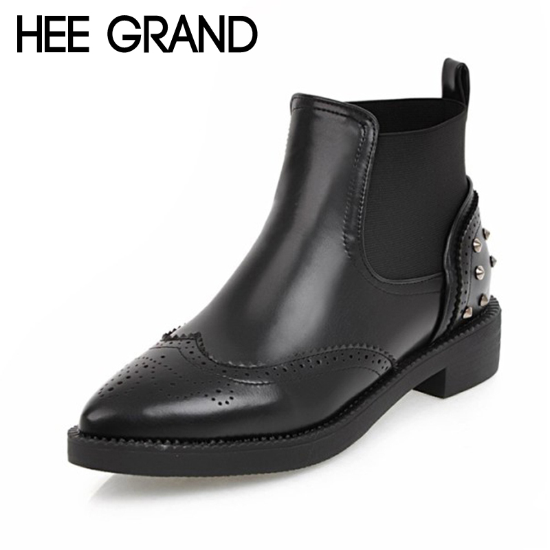 HEE GRAND 2017 Rivet Women Ankle Boots Winter Cut Out Pu Boots Ladies Brogue Shoes Pointed toe Shoes Woman Size 35-43 XWX6404