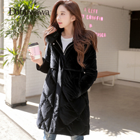 Dabuwawa бархат новые зимние хлопковые пальто Для женщин тонкий большой меховой воротник парки с капюшоном средней длины мягкий теплый Толщина