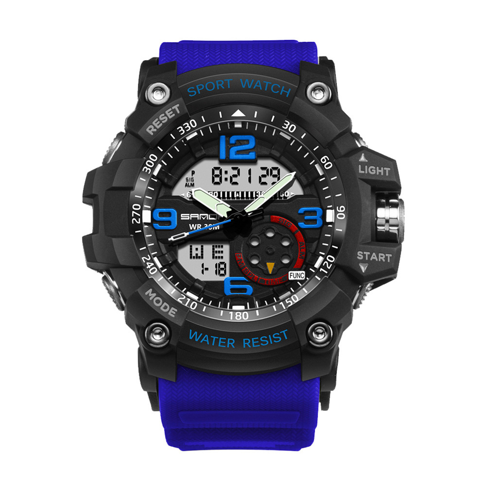 Digital Analog Dual Time Sport Watch Zones Calendar Chronograph Military Resin Wrist Watch Men 47