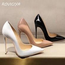 Sapato salto alto sensual feminino, calçado feminino stiletto com ponta nude 12 cm 10 cm 8 cm plus tamanho qp051 roviciya