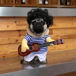 Funny Pet Guitar Player Cosplay Dog Cat Costume Guitarist Dressing Up Party Xmas New Year Clothes For Dog Cats Costume