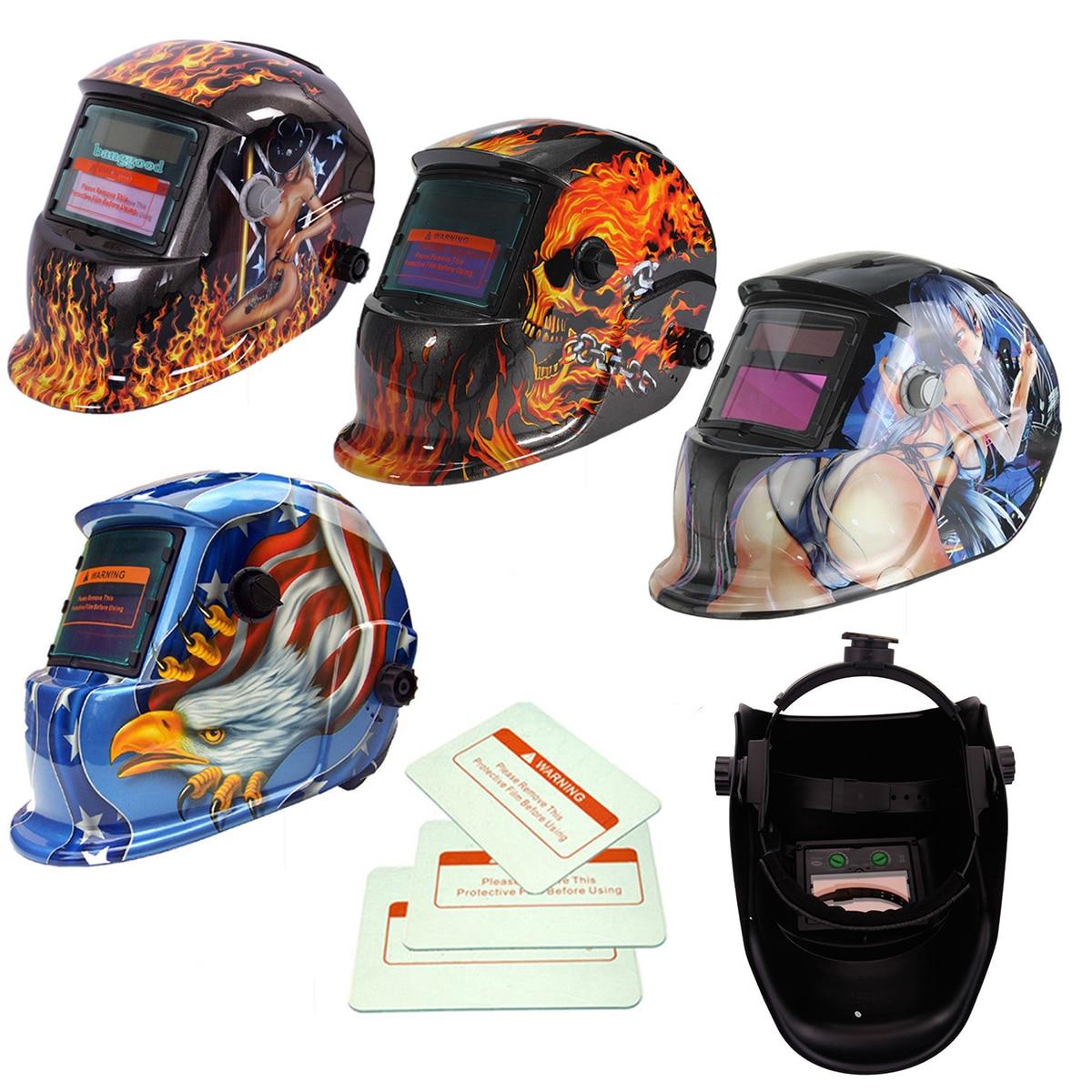 Ossieao New Solar Auto Darkening Welding Helmet + 3 Lens Tig Mask Grinding Welder Mask areyourshop solar auto darkening welding helmet arc tig mig grinding welder mask 1pcs blue good quality for welding machine