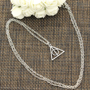 New Fashion Necklace Hallows Deathly 22x21mm Silver Color Pendants Short Long Women Men Colar Gift Jewelry Choker