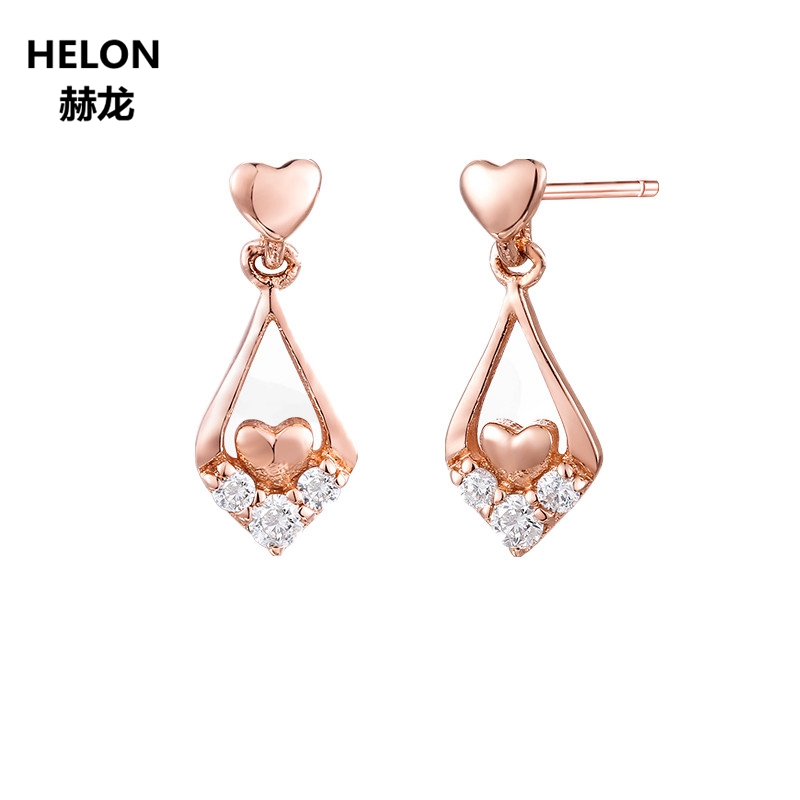 Solid 14k Rose Gold Natural Topaz Stud Earrings for Women Party Anniversary Engagement Wedding Fine Jewelry Trendy 18k rose gold women stud earrings double balls fine engaged wedding jewelry fashion female delicate gift hot sale trendy party