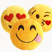 New Cute Emoji Decorative Throw Pillow Stuffed Smiley Cushion Home Decor For Sofa Couch Chair Toy Emotional Smile Face Doll