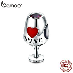 BAMOER Trendy New 925 Sterling Silver Wine Cup Heart Pave Charm Beads fit Charm Bracelets & Necklaces Jewelry Making SCC788