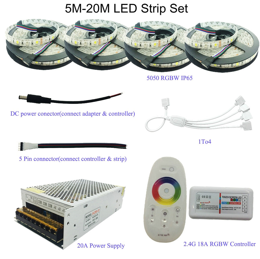 5M/10M/15M/20M 5050 RGB/RGBW/RGBWW LED Strip Set With 2.4G Touch Screen RF Remote Controller+12V Power Supply Adapter