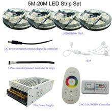 5M/10M/15M/20M 5050 RGB/RGBW/RGBWW LED Strip Set With 2.4G Touch Screen RF Remote Controller+12V Power Supply Adapter