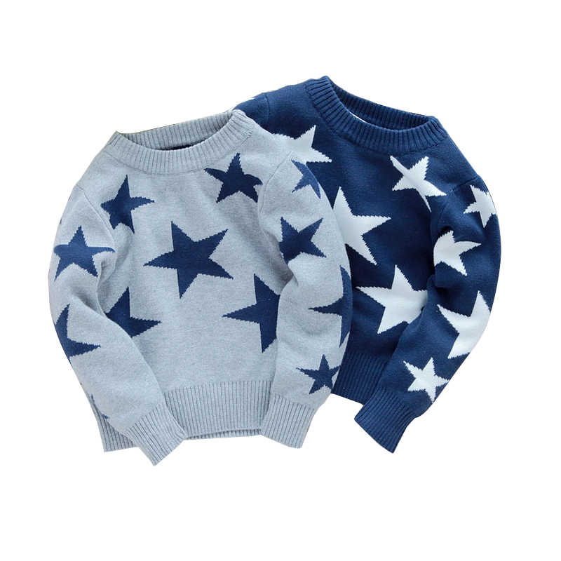 child five-pointed star sweater pullover autumn winter children's clothing baby boy clothes kids free shipping