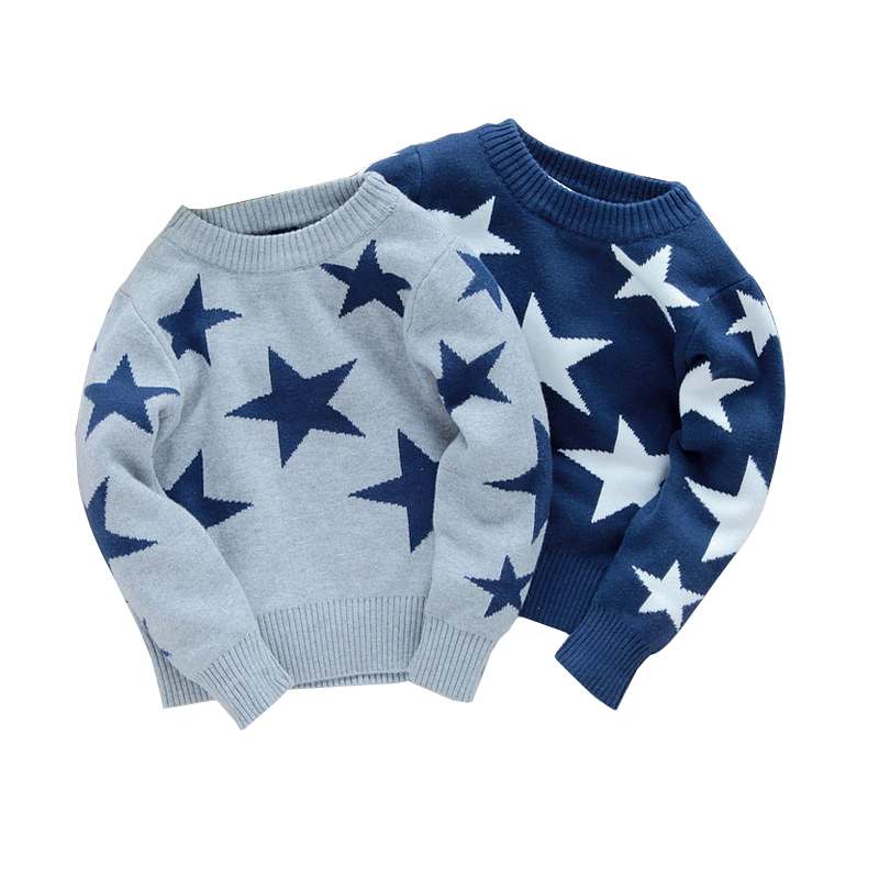 free shipping Male child sweater, five-pointed star sweater pullover autumn winter children's clothing baby boy clothes semi sheer intarsia star sweater