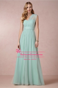 2014 New One Shoulder Sweetheart Ruched Crepe Tulle Mint Bridesmaid Long Dresses Plus Size Free Shipping