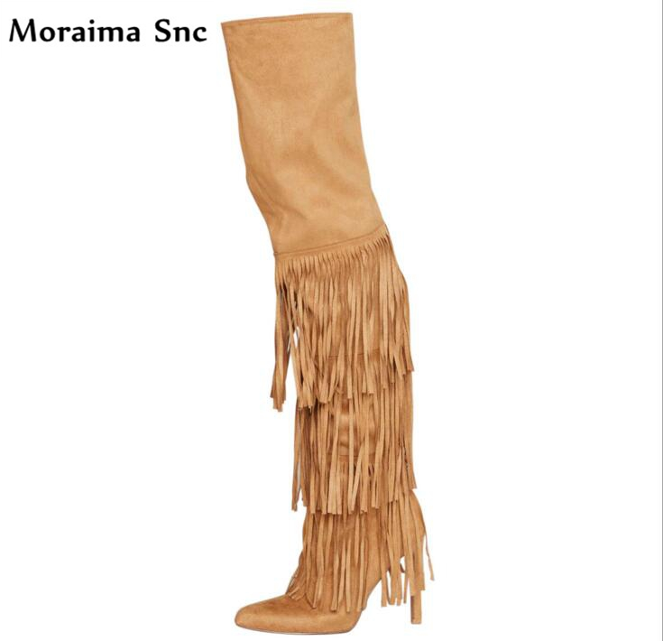 Moraima Snc newly Arrival fashion women long Boots pointed toe Fringe Decoration over-Knee-high Gladiator boot stilettos heel moraima snc chic women winter platform pointed toe mid calf boots solid black lace up fringe vintage suede high heel