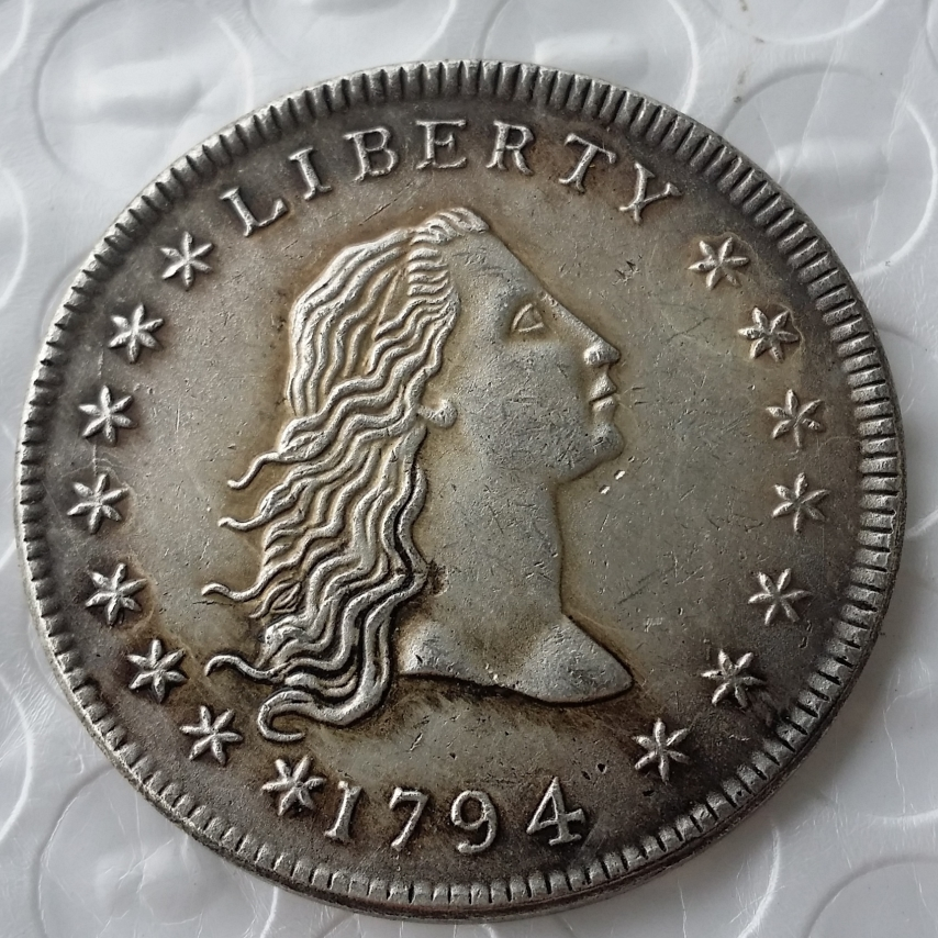 United States Coins 1794 Flowing Hair Brass Silver Plated Dollar Smooth Edge Copy Coin Replica