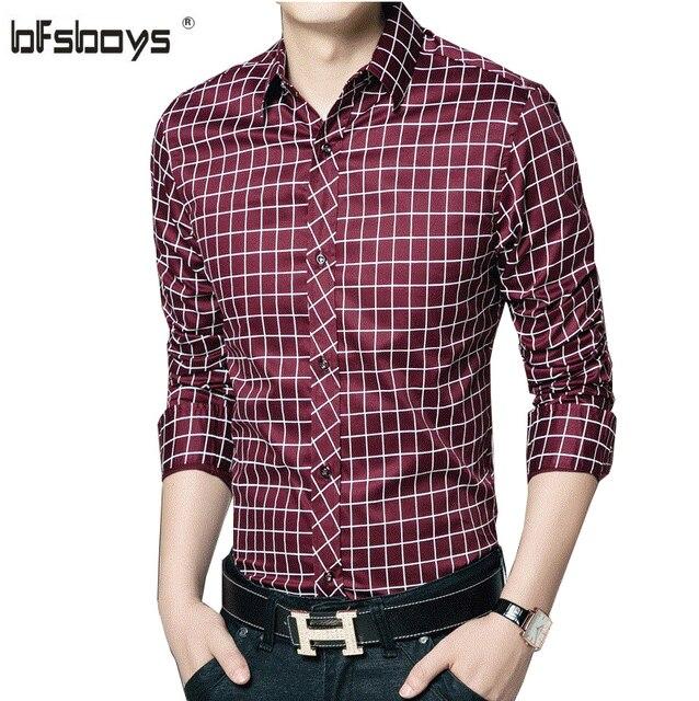 Men Plaid Cotton Casual Men Shirt Social 2016 New Fashion Brand Spring Men Clothes Slim Fit Men Long Sleeve Shirt Plus Size 5XL