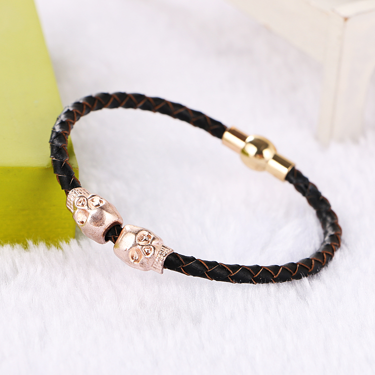 Hot sell design fashion genuine leather bracelet for women Magnetic Clasp Punk skull bracelet Rose Gold Color