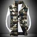 2016 Nova Casual Colete de Algodão Impressa Camuflar Wide-Cintura Colete Casaco de Inverno Quente Homens Jaqueta de Mangas Colete mz276