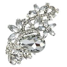 Броши для женщин Кристалл Большая Брошь Стразы свадебные аксессуары, букеты ювелирные изделия нагрудные булавки-серебро, белый