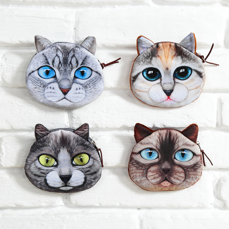 Fashion Women Coin Purses Cute Girl Animal Mini Bag Key Ring Case Zipper Wallet Lovely Cat Face Pouch Change Purse wholesale 2017 women white coin purses se cute wallet for children purse owl kawaii bag lovely cat bags women cartoon animal bag winx