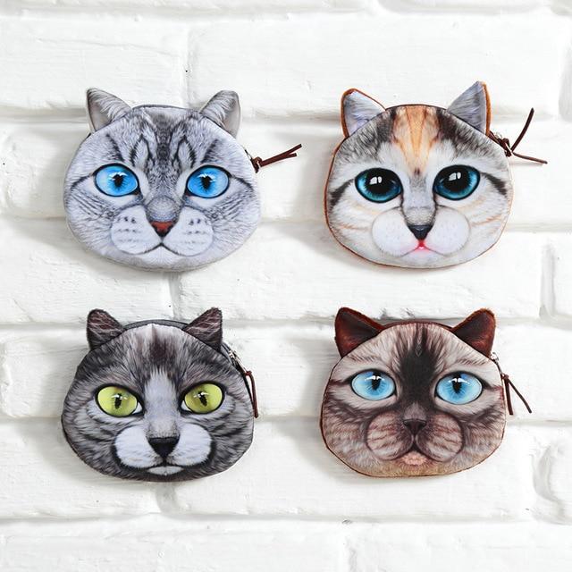 Fashion Women Coin Purses Cute Girl Animal Mini Bag Key Ring Case Zipper Wallet Lovely Cat Face Pouch Change Purse wholesale
