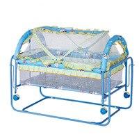 Детская железная металлическая кроватка качели кровать с роликом качалка игровая кровать складная детская кроватка с колесами москитная с