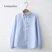 Leonyeetive New 2017 Autumn Winter Women Thick Shirt Cotton Rabbit Blouses Style Clothing Full Sleeve Ladies