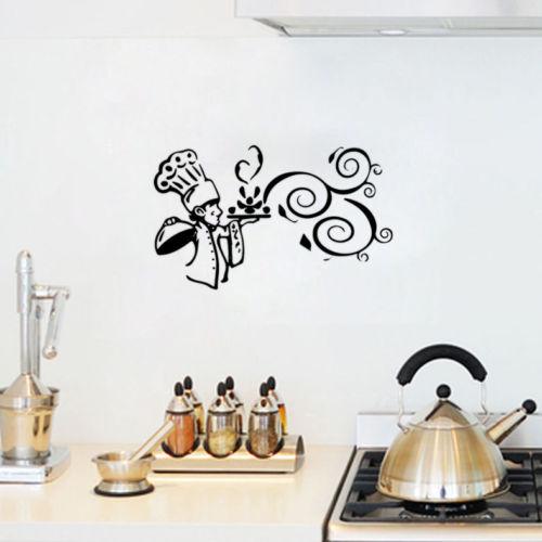 734 Pegatina De Pared Cocina Comida Dibujos Animados Cocina Vinilo Pared Decoración Cocina Arte Decoración De Pared In Adhesivos Para Pared From