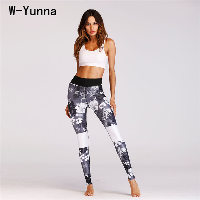 W-Yunna New Fashion Floral Print Women Leisure Pants Slim Soft Harajuku Leggins High Waist Ankle Length Summer Push up Leggings